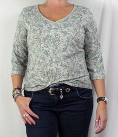 Cute J Jill Large size Top Gray Floral Pima Cotton Womens Casual Vneck