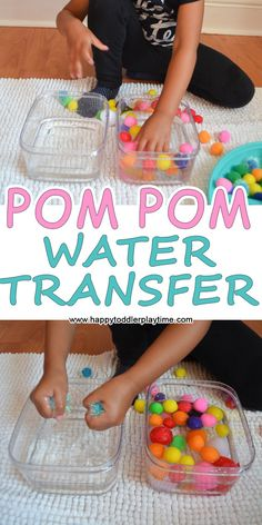 This activity is a simple to set up water transfer activity using pom poms! A great way to keep toddlers occupied while you get chores done.