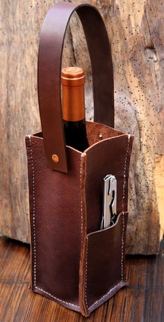Noble Vine Collection® One-Bottle Wine/Liquor Tote: Handcrafted in NC and made to last, our wine carriers are reinforced and feature a side pocket.