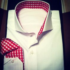 My newest creation.  I have one more eccentric shirt on the way.  Classic white button down with the cutaway collar, red gingham interior collar and cuff.  Shirt personalized by Noble Custom and manufactured by J.Hilburn.