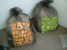 Garbage bags that raise consumer awareness about food waste - art by Jon Erwin