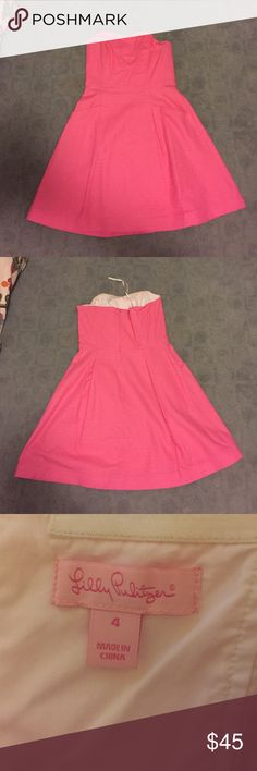 Lilly Pulitzer Hot Pink Strapless Dress Jacquard fabric. Hot pink, boning in the upper areas. Bra friendly and it has pockets! Worn twice, only selling because it is too big! Lilly Pulitzer Dresses