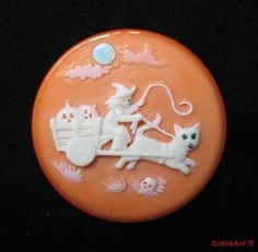 Relief Carved Bakelite Halloween Witch Hauling Pumpkins n Cat Cart Button or Pin | eBay