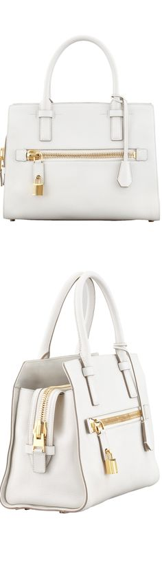 Color Story...Shades of White / Tom Ford Charlotte Small Leather Tote Bag, White