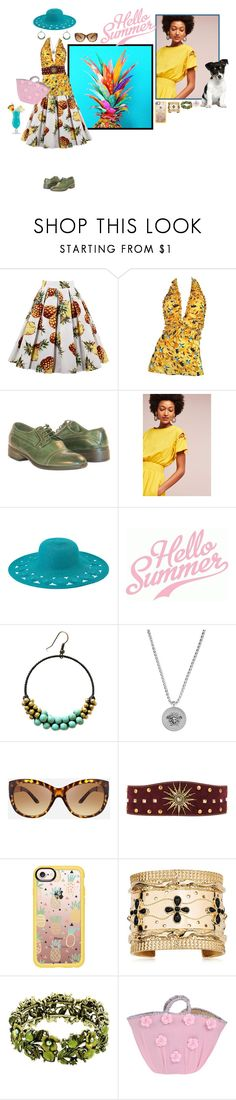 """""""pineapple summer"""" by whimsical-angst ❤ liked on Polyvore featuring TIKI, Karl Lagerfeld, Oxford, Plenty by Tracy Reese, San Diego Hat Co., Versace, Ashley Stewart, FAUSTO PUGLISI, Casetify and Aurélie Bidermann"""