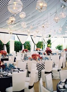 Nautical wedding decor by Mindy Weiss never thought the black.would look so pretty. Tent Wedding, Mod Wedding, Wedding Receptions, Wedding Events, Dream Wedding, Wedding Day, Wedding Favors, Wedding Cakes, Sailor Wedding