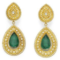 A PAIR OF EMERALD AND DIAMOND EAR PENDANTS, BY BUCCELLATI