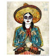 Sugar Skull Cowgirl Art Print