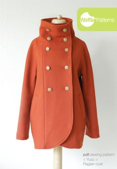 pdf sewing pattern Raglan Coat -Yuzu- size 34-48 Waffle Patterns