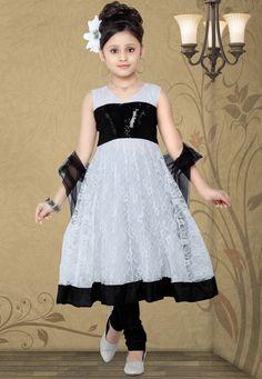 White Chantelle Net Readymade Anarkali Churidar Kameez: UND222 LACK AND WHTE WITH BLACK SCRAF FORMAL DRESS