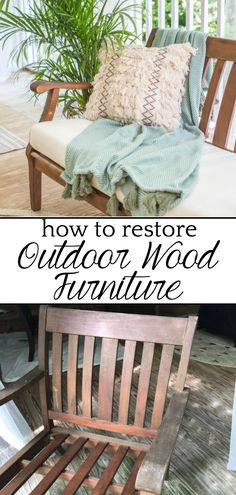 How to Restore Outdoor Wood Furniture | blesserhouse.com - How to make your dry, worn out wood furniture look like new and how to thoroughly clean outdoor cushions. #outdoorfurniture #restorewood