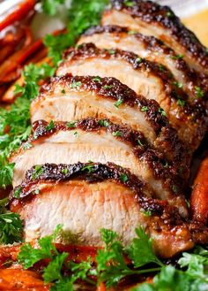 Brown Sugar Dijon Glazed Pork Loin with Carrots and Sweet Potatoes