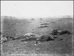 Federal Dead on the Field of Battle of First Day Gettysburg Pennsylvania; Mathew Brady 1863. One of the earliest war photographs this sobering look at the war ravaging America remains one of the most important war images of all time.