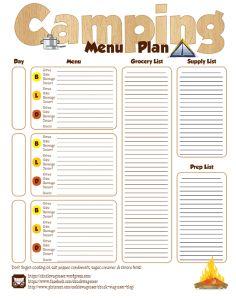 Camping / Camp menu plan template printable