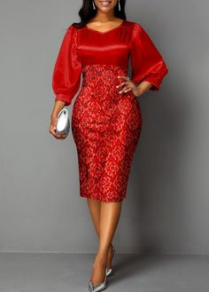 Mesh Panel Lantern Sleeve Sequin Detail Sheath Dress Women Clothes For Cheap, Collections, Styles Perfectly Fit You, Never Miss It! Latest African Fashion Dresses, African Dresses For Women, Women's Fashion Dresses, Dress Outfits, Fashion Clothes, Korean Fashion, Elegant Midi Dresses, Sexy Dresses, Trendy Dresses