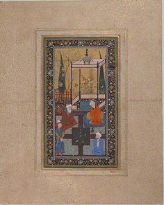 Garden Scene Object Name: Folio from an illustrated manuscript Date: mid-16th century Geography: present-day Uzbekistan, Bukhara Culture: Islamic Medium: Opaque watercolor, ink, and gold on paper Dimensions: H. 7 1/8 in. (18.1 cm) W. 3 1/8 in.(7.9 cm) Classification: Codices Credit Line: Gift of Tabbagh Frères, 1911 Accession Number: 11.6.1
