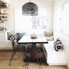 Modern Kitchen Dining Room Design and Decor Ideas – Wohnen – … Dining Room Design, Dining Room Table, Kitchen Dining, Wood Table, Corner Dining Nook, Dining Rooms, Dining Room Bench Seating, Table In Small Kitchen, Kitchen Banquette Ideas