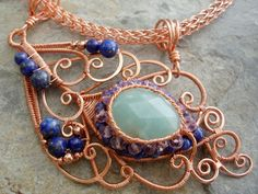Peacock feather Necklace - Copper | JewelryLessons.com