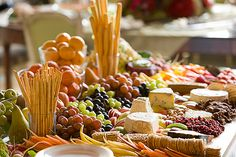 Crudites and Cheese Platters Love the idea of combining the #cheeses and #vegetables for a party
