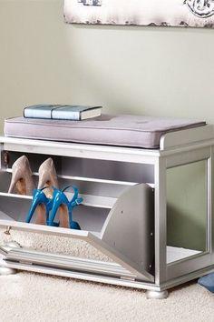 Mirrored Shoe Bench