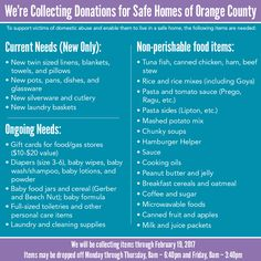 By donating these items, you can help a local family break the cycle of domestic abuse by supporting their goal of a safe and secure home.