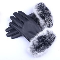 New 2015 Faux Rabbit Fur Hasp Fur Fashion Wrist Warm Women's Leather Gloves Winter Thickening Elegant Gloves For Women
