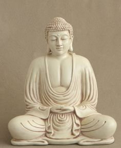 Bring peace and spiritual inspiration to your garden with meditating Buddha statue. Ivory colored finish. 8.5 inches.