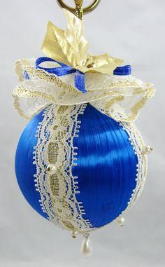 Blue Satin Ball Christmas Ornament 207 by NoelBelles on Etsy