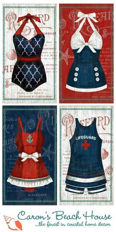 Love this fun vintage swimsuit art from Suzanne Nicoll in nautical resort images and colors!  Whimsical and beachy fun