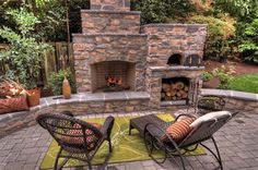 53 Most amazing outdoor fireplace designs ever I like this one with the built in pizza oven.