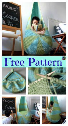 Knit Cocoon Hanging Seat – Free Pattern #freeknittingpatterns #cocoon #homedecor #knitseat