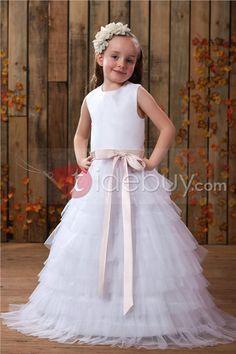 Beautiful A-line Jewel Tea-length Tiered Flower Girl Dress