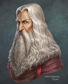 Portrait of Toff Ornelos, headmaster of the Acadamae in the Varisian city of Korvosa. Fantasy Wizard, Fantasy Art Men, High Fantasy, Fantasy Rpg, Medieval Fantasy, Fantasy Portraits, Character Portraits, Character Art, Character Ideas