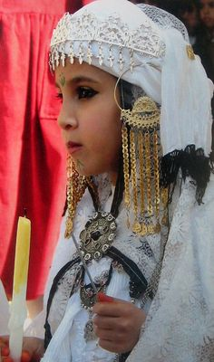 Africa | Young Algerian girl from the Djelfa region. (Ouled Nail) | Photographer unknown