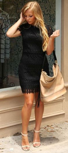 Pin de rosa herrá en my style fashion, dresses y black crochet dress. Classy Outfits, Casual Outfits, Summer Outfits, Dress Outfits, Cute Dresses, Beautiful Dresses, Short Dresses, Black Crochet Dress, Dress Black