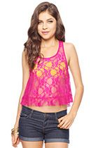 forever 21  Sheer Lace Racerback Top  Was:$14.80  Now:$9.00