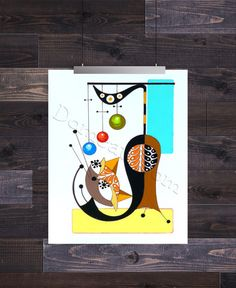 Letter J, Mid Century Modern Cat Alphabet, 8x10 Giclee Print by Domini – Domcats