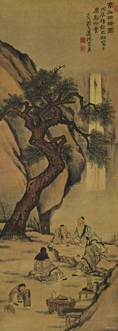 백련 지운영 (1852-1935), 상상사호도, 1928년 작, 수묵채색화.