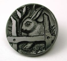 Antique Black Glass Button Bunny Rabbit Behind Fence Design