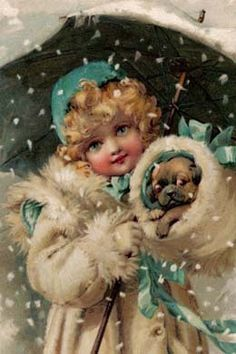 Pug Puppy Dog & Girl in Snow Storm Vinage ~ New Note Cards.