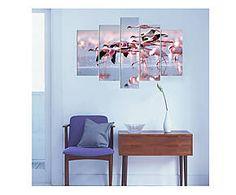 Stampa digitale decorativa fenicottero in mdf, 5 pz - 105x70x1 cm