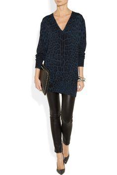 Roberto Cavalli|Leopard-print wool-jersey sweater|NET-A-PORTER.COM