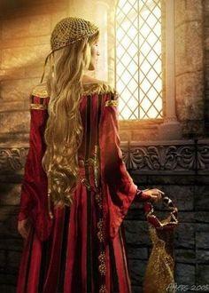 gold blond hair, ringlets, golden hair net, red dress renaissance, light skin, princess, queen…