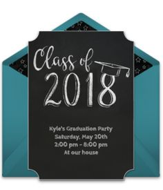 Customizable, free Grad Chalkboard online invitations. Easy to personalize and send for a graduation party. #punchbowl