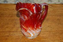 Vintage Marigold  Imperial Slag Glass Scenic Pitcher
