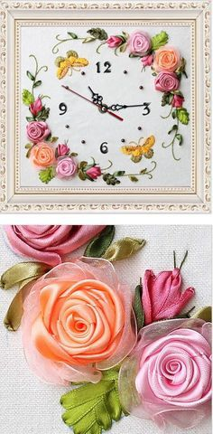 Silk Ribbon Embroidery Idea - for handmade flower clock. Love the sweet ribbon roses! Silk Ribbon Embroidery, Embroidery Stitches, Embroidery Patterns, Hand Embroidery, Ribbon Art, Ribbon Crafts, Ribbon Flower, Fabric Flowers, Silk Flowers