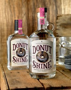 This is totally a legit way to celebrate #nationaldonutday ... right? (Donut Shine, Kentucky Style Moonshine—CF Napa Brand Design)