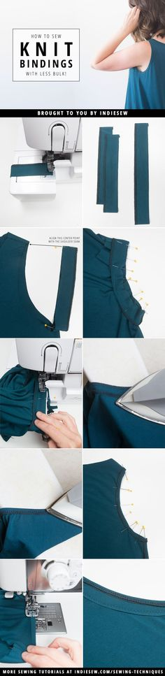 The best DIY projects & DIY ideas and tutorials: sewing, paper craft, DIY. DIY Women's Clothing : Check out this new method for binding the Vallynne (or any knit garment!) that reduces bulk and imitates ready-to-wear techniques. Sewing Basics, Sewing For Beginners, Sewing Hacks, Sewing Tutorials, Sewing Tips, Sewing Projects, Techniques Couture, Sewing Techniques, Diy Clothing