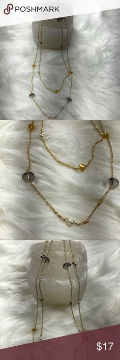 Gold, Pearl & Smoky Quartz Double Strand Necklace NY Style!!  Gold, Pearl & Smoky Quartz Double Strand Necklace With Lobster Claw Clasp. Hypo-Allergenic For Those With Sensitive Skin. Perfectly On Trend, Fun & Flirty!! Never Been Worn, New With Tags NY Style Jewelry Necklaces