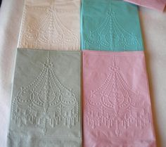 Chandelier embossed napkins        (Cuttlebug embosser on paper napkins, any design would look fab!)